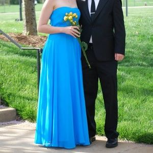 Teal Strapless Floor Length Ball Gown